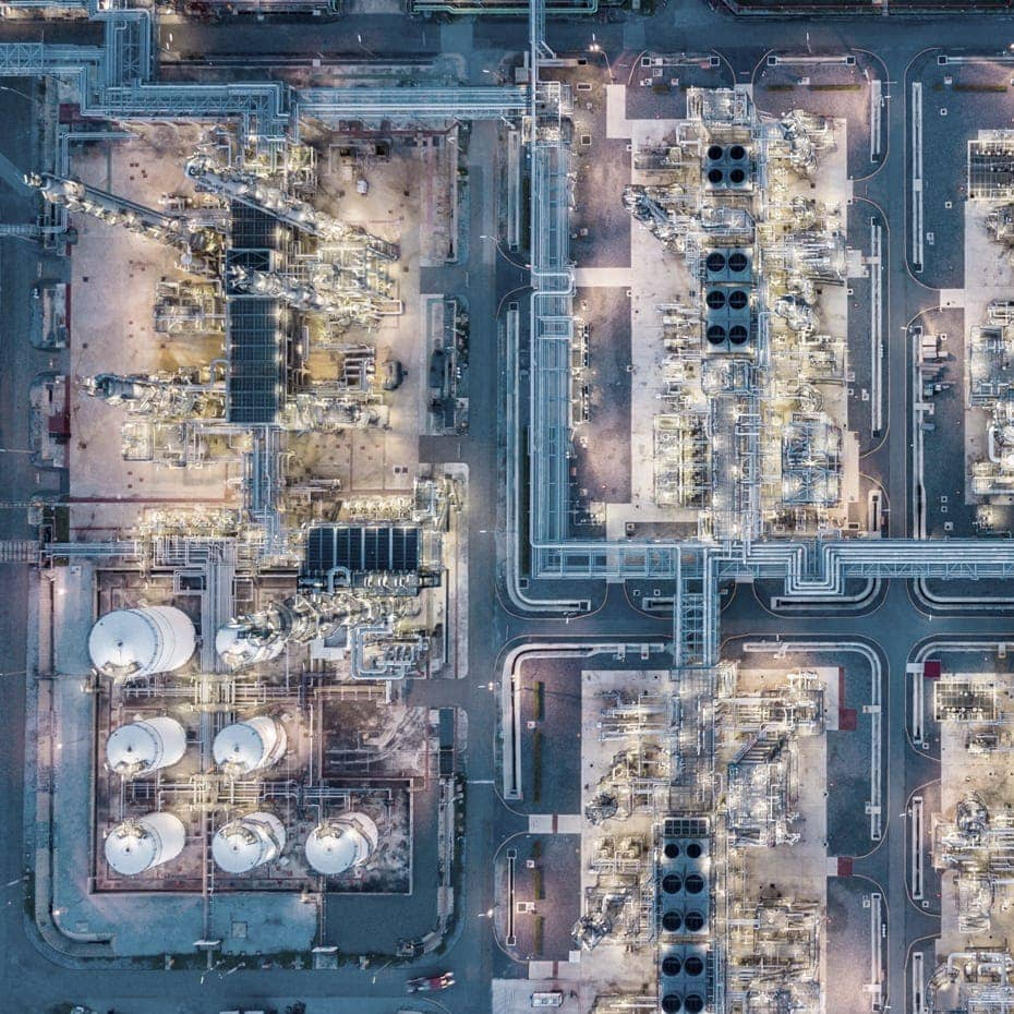 aerial view of oil field