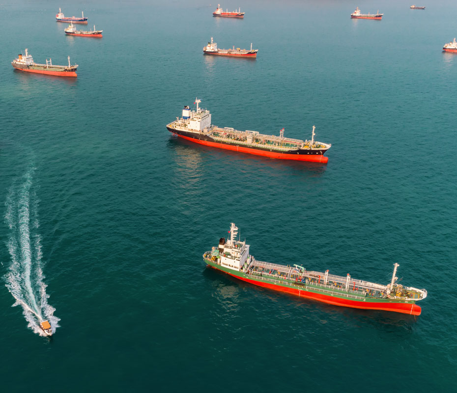 fleet of gas carriers at sea