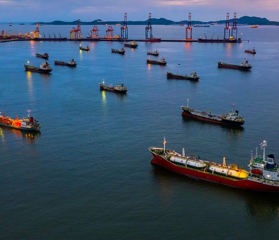 Oil cargo ships at sea
