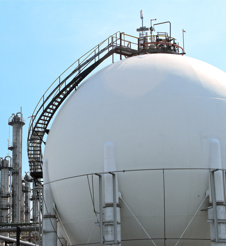 sphere shaped chemical storage tank