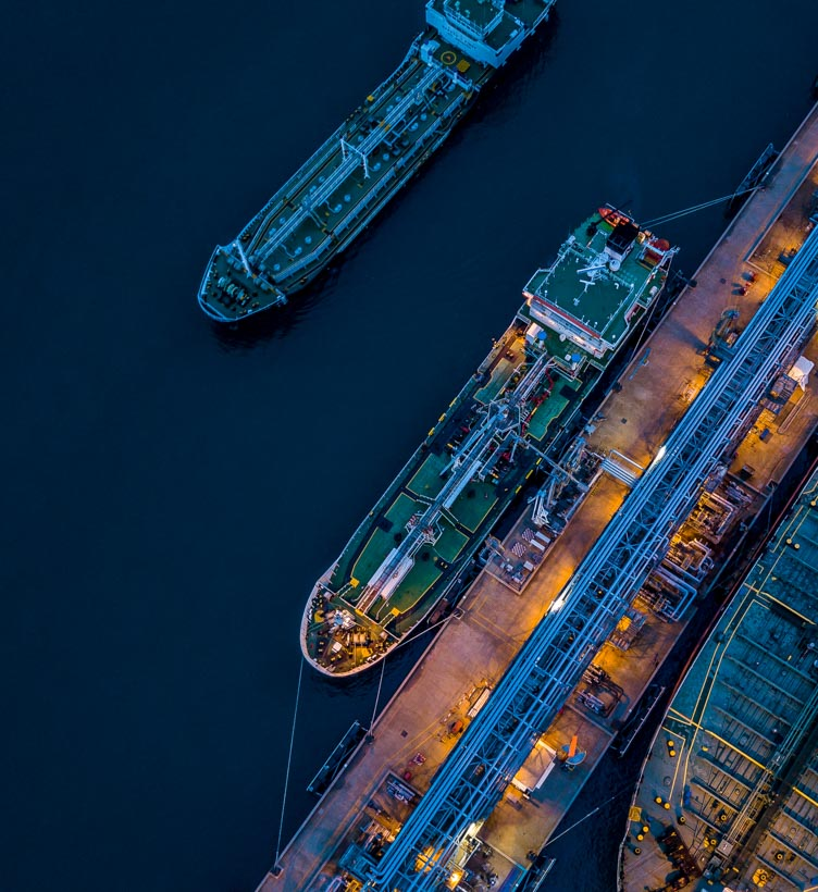 aerial view of gas carrier