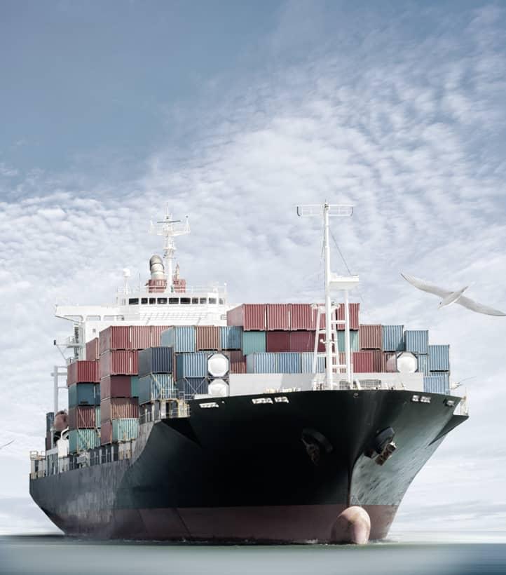 cargo ship at sea