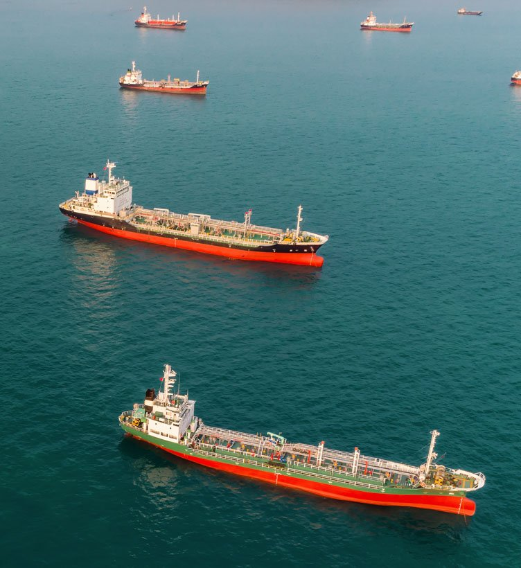 fleet of gas carriers at sea two col